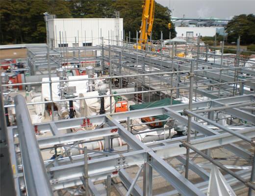 高圧ガス供給設備:天然ガス配管ラック組立