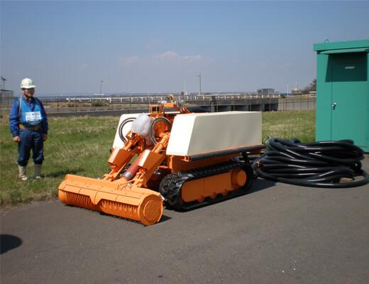 取水路堆積貝清掃用ロボット:準備作業